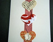 Recycled Material Vintage Music Flower Red Ribbon Thread Sew Glitter Valentine Card