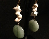Green and white stone dangling earrings