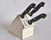 White Shabby Chic Distressed Knife Block - ShabbyChicLife