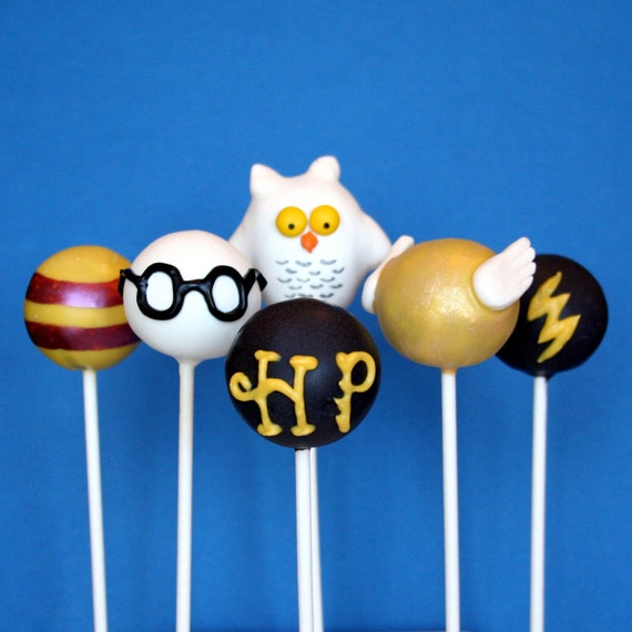 12 Harry Potter Cake Pops with Golden Snitch and Hedwig the Owl, for party favors, movie night, or gift for a J.K. Rowling fan