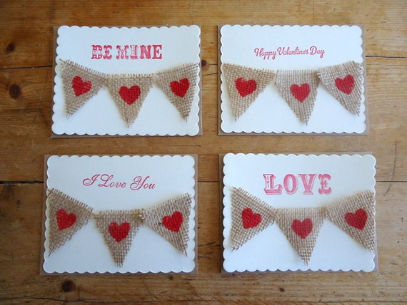 Happy Valentines Day Card / Postcard Triangle Burlap Flag Bunting Hearts Love Be Mine Rustic Scallop with Envelopes