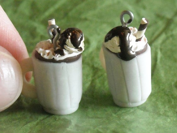 Root Beer float mug miniatures, necklace charms, earrings or doll house miniatures- 100% handmade