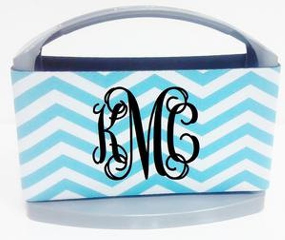 CHEVRON Tiffany Blue  White /CHEVRON  Black  White/ Preppy  6 Pack Monogrammed Neoprene Cooler