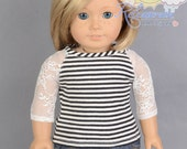 "Black with Ivory White Stripes/White Mesh Lace 3/4 Sleeve Knit Tee Shirt Doll Clothes Outfit for 18"" American Girl dolls"