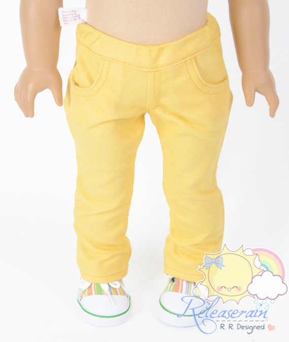 "Doll Clothes Outfit Elastic Banded Waist Mango Yellow Denim Jeans Pants Trousers for 18"" American Girl dolls"