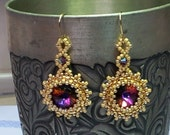 Red Swarovski dangle earrings with beadwork, gold plated wires - SandyYuDesign
