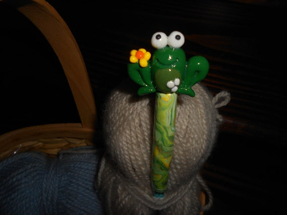 Frog Polymer Clay Crochet Hook