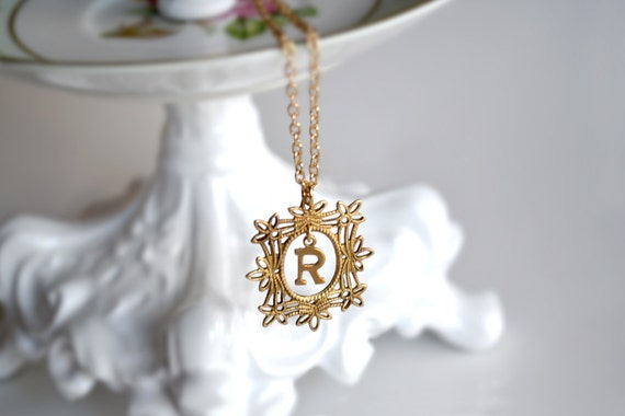 Brass Filigree Charm Initial Letter R Pendant Necklace
