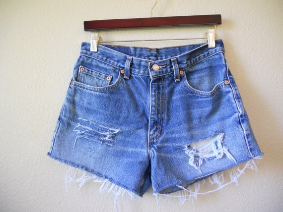 OBO    80's 90's zip up Grunge Levis Jeans Cut Off Denim Jean Shorts High Waisted Frayed W 31