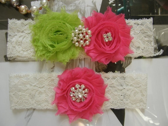 Garter / Wedding Garters / Lace Garter / Lime Green / Hot Pink / Bridal Garter Set / Bridal Garter / Toss Garter / Vintage Inspired