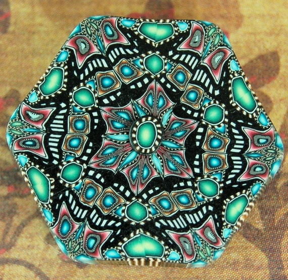 SALE - Polymer Clay Hexagon Kaleidoscope Cane Slice Bead -A37