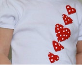 Girls Red Polka Dot Hearts Puff Sleeve T-shirt - TwiceAsNiceBaby