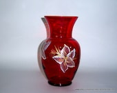 Red Glass Vase Hand Painted White Gold Flowers Upcycled Home Interior Design and Style Pinterest