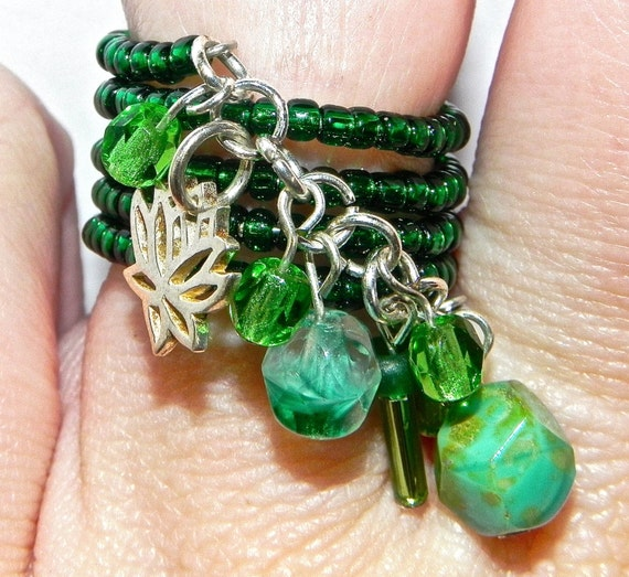 Adjustable Green Beaded Wire Wrapped Charm Ring with Silver Pendant and Green Stones