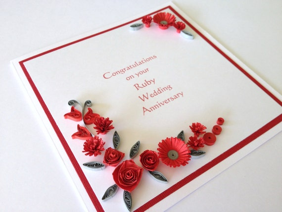 Gifts For A Ruby Wedding Anniversary: Happy Ruby Wedding Anniversary Quilled Card Customise By
