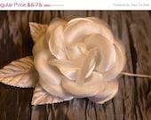 "White Satin organza-satin camellia-3""-wire stem-white satin leaves-embellishment-craft supply- hair accessory-supply"