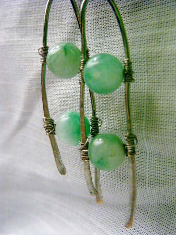 Jade Earings Dangle within Hammered Wire Frames