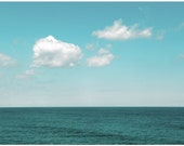 "Mint Sea & Cotton Ball Clouds- Summer Art- Ocean Art- 10""x8"" Fine Art Photography Print- ""Is it summer yet"" - theSepiaSea"