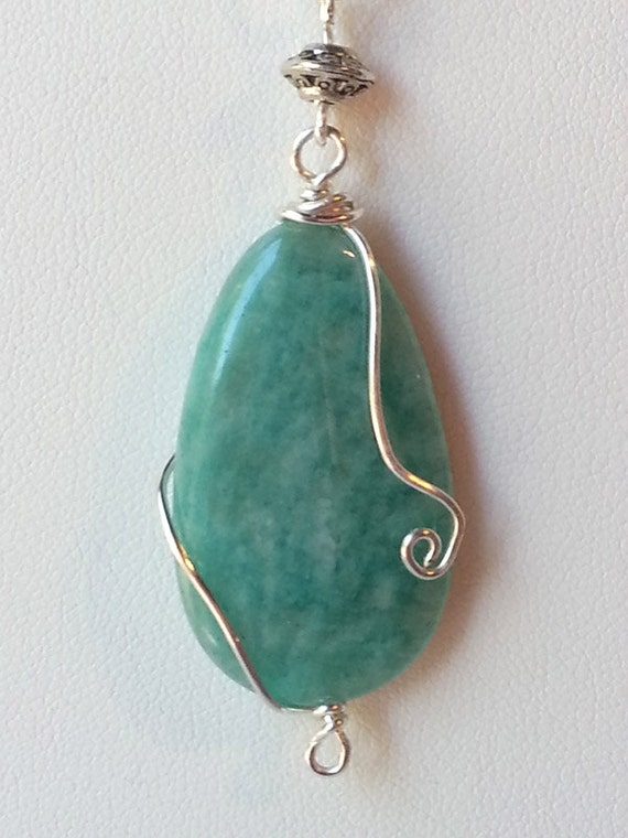 Sea Nymph - Wire Wrapped Sea Green Agate Pendant Necklace