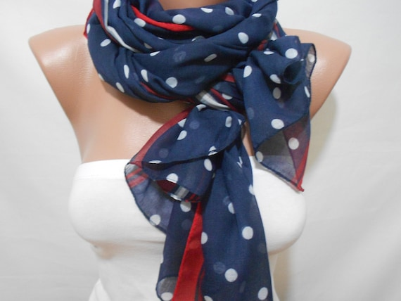 Polka Dot Blue Scarf Shawl, Patriotic July 4th Scarves, Red White Blue Scarf, Memorial Day Wear, Fashion Women Accessories, ScarfClub