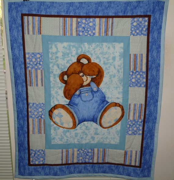 New Nursery Quilted Teddy Bear Blue Jeans Baby Boy Blanket - Country Style