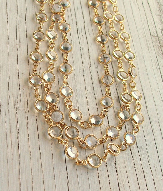Long GOLD Necklace Chain, CHANNEL Set, Gold Bezel Set, Swarovski Crystal Necklace, Sparkly, Bling, Bride Necklace, Art Deco, 36 Inches