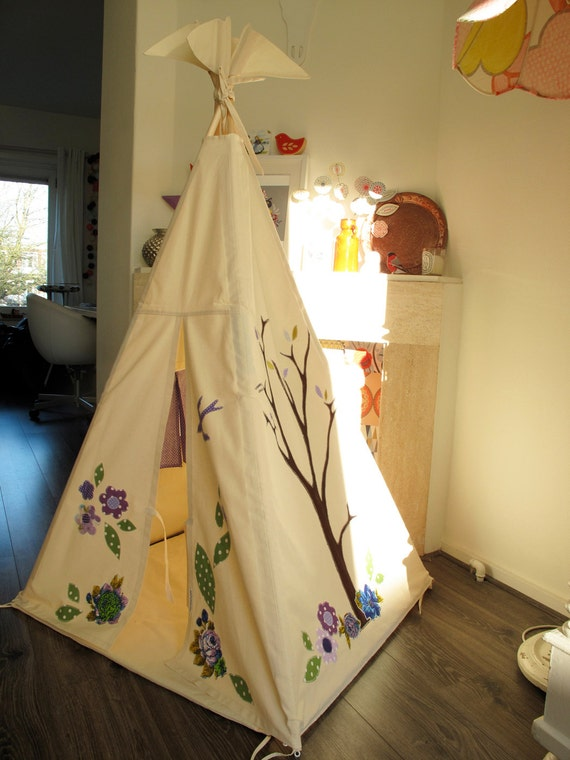 Reserved for Kelly Marsh Teepee for indoor play - with vintage fabrics