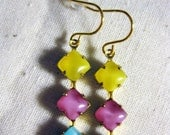 Retro Moonglow Earrings in Aqua, Pink, and Yellow, Vintage Moonglow Earrings - SoCoDivka