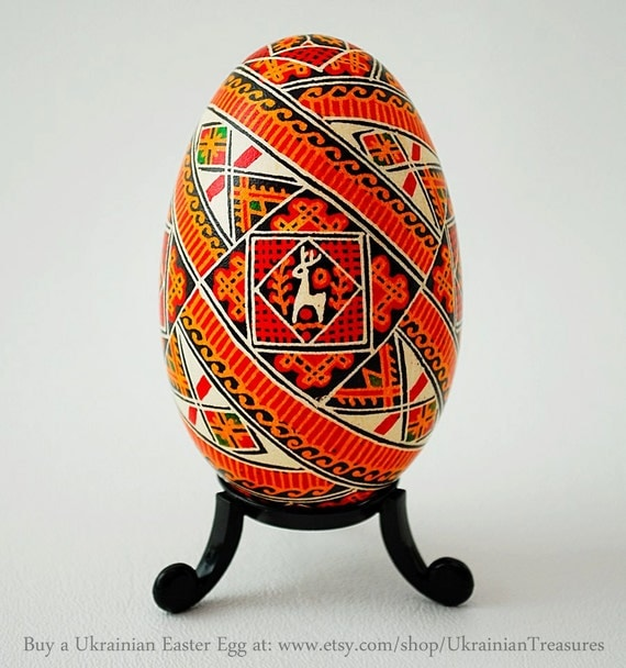 Hutsul Pysanka Egg - Ukrainian Highlander Pysanky Art - Real Handmade Traditional Ukrainian Goose Egg