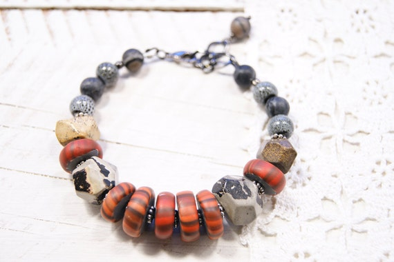 Stacked Stones Modern Art Jewelry Bracelet- Artistic Stone and Tangerine Orange Polymer Clay Gypsy Trade Bead