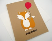 Fox Happy Birthday Card,Woodland Animal Handmade Greeting Card by PiecesofMePaperCraft on UpcycleFever
