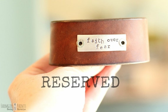 brown leather cuff...RESERVED FOR AMY