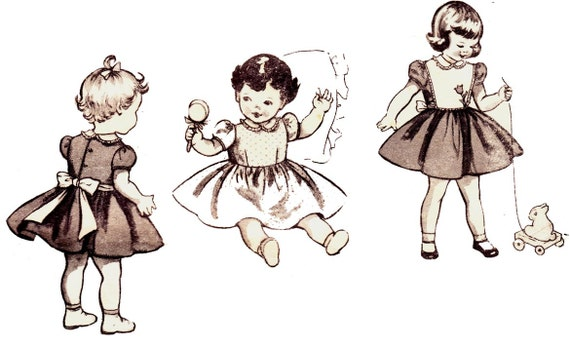 50s Vintage Toddler Girls sewing pattern Party Dress Butterick 6597 Size 2 Breast 21 Inches