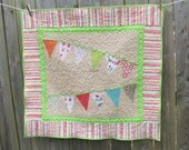 Bunting Girl Quilt, Alphabet Soup, Toddler or Baby, Riley Blake, Wall Hanging or Crib Quilt - DeMossDesigns