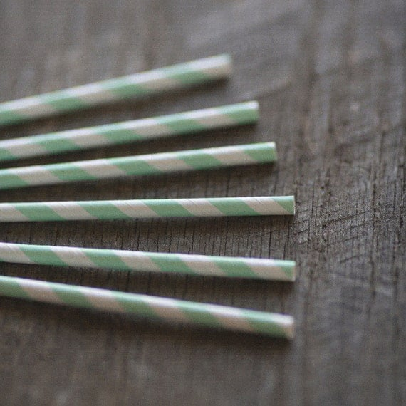 Modern Mint- Paper Straws- Set of 12