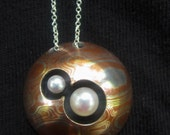 "OOAK Mokume Gane, Sterling Silver & Pearl ""Constellation"" Pendant and Chain - CarolineBacher"