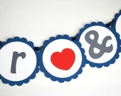 ON SALE MR & Mrs wedding garland - heart , Navy and grey banner love banner A684