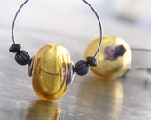 Caramel Baubles - Blown Glass Bauble Hoop Earrings - Glass Bauble Dangle Earrings - Amber Yellow Earrings - Lightborn