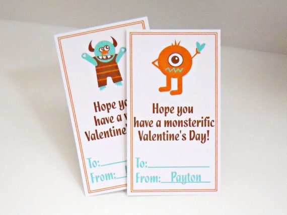 Personalized Kids Valentines Cards Monsters Set of 25