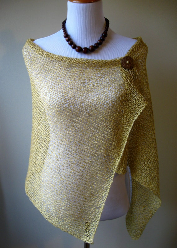 Light Mustard Summer Knit Shawl - Cotton/Linen