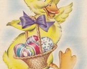 Bringing Happy Easter Wishes to You- Yellow Duckling- 1946 Vintage Card- Used - EphemeraObscura