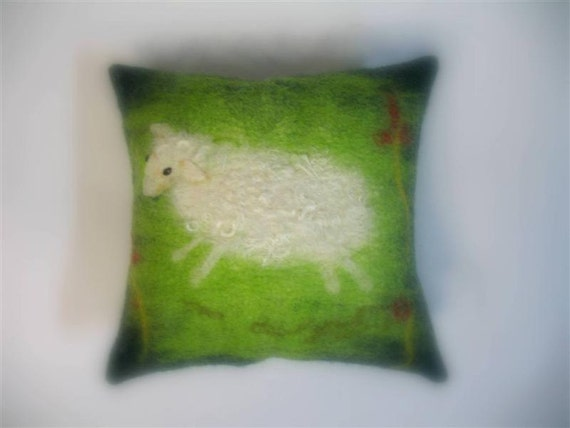 Watercolor Felt technique Sheep  Wool Cushion Child pillow