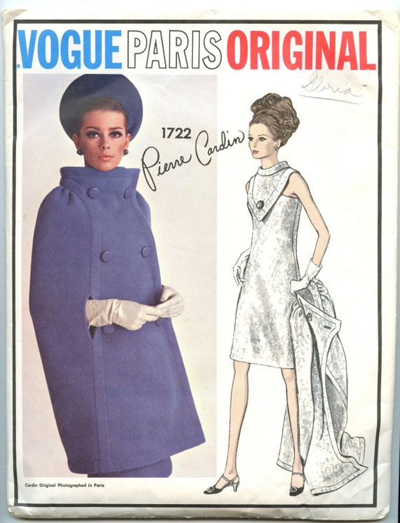 1960s Vintage Vogue Paris Original 1722 Pattern by Pierre Cardin Dramatic Evening Dress and Double Breasted Cape Includes LABEL Bust 32