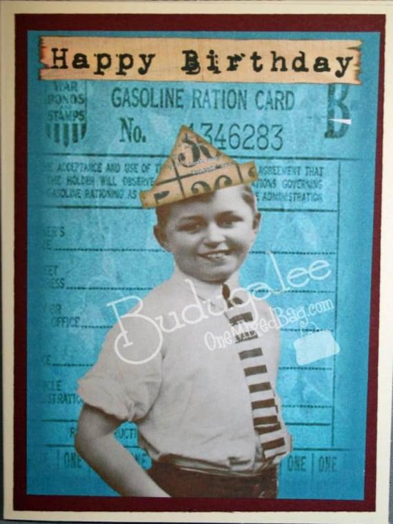 Happy Birthday Vintage Boy - Blank Card