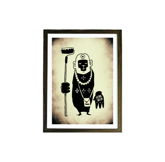 SHAOLIN , Monkey Art Print, Weird Art, Monkey Art Print, Geekery Wall Art, Gift Wall Decor, Print Illustration, Geekery Art Print