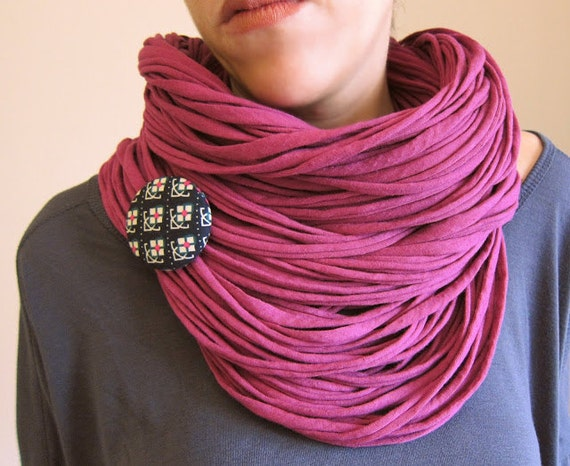 Bright pink fuscia multi-strand upcycled fabric double necklace/scarf with retro flowers brooch