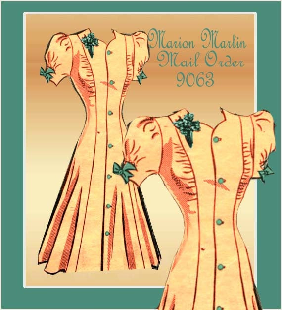 1940s Dress Pattern Marion Martin Mail Order 9063 Vintage WWII Swing Era One Piece Day Dress with Princess Seams
