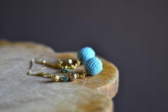 Mint Blue Earrings - Crochet Earrings - Gold& Mint Blue - Everyday Jewelry