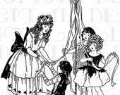 Creating The Maypole. MAY DAY Vintage Illustration. DIGITAL  Download. Vintage May Day Print. - DandDDigitalDelights