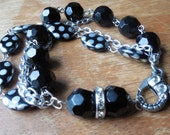 Multi-Strand Black & Silver Beaded Bracelet with Cute Lobster Clasp